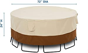 """KIOKOI Outdoor Furniture Cover, Premium Heavy Duty Weatherproof, with 600D Oxford Fabric PVC Coated, Patio Furniture Covers, Size 72"""" Dia x 24"""" H"""