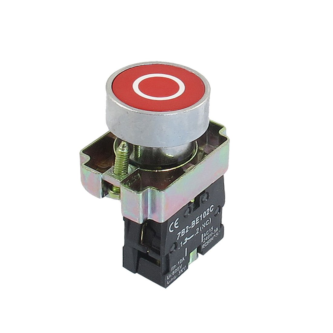 Uxcell a12082000ux0349 22mm NC N/C Red Sign Momentary Push Button Switch 600V 10A ZB2-BA4322