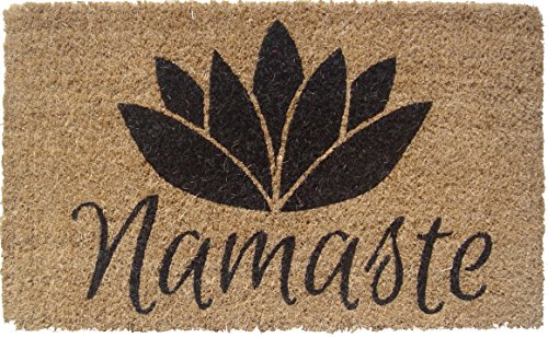 Entryways 1077S Namaste Handmade/Hand-Stenciled/All-Natural Coconut Fiber Coir Doormat, 18