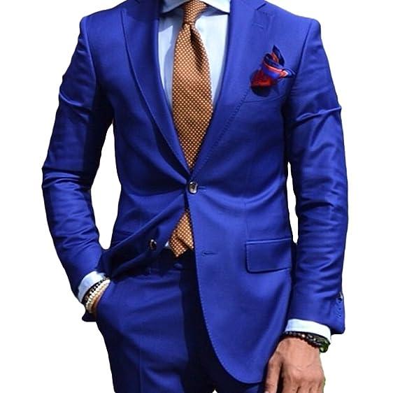 Royal Blue Groom Tuexdos 2 Pieces Men Suit Jacket Pants Wedding ...