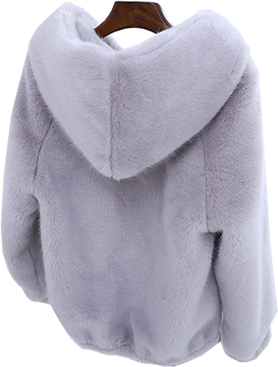 Flygo Womens Cute Faux Fur Wool Sherpa Coat Sweatshirt Outwear