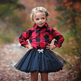 Canrulo 2Pcs//Set Christmas Baby Girls Button Down Plaid Flannel T-Shirt Sweet Tutu Skirt Outfits