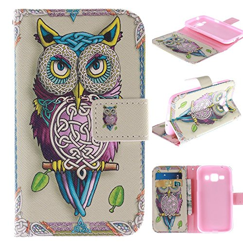 Samsung Galaxy Prevail LTE Kickstand Case,Tribe-Tiger Stylish Tribe Energetic Owl Design Premium Leather Magnet Slim Flip Kickstand Case Cover for Samsung Galaxy Core Prime G360