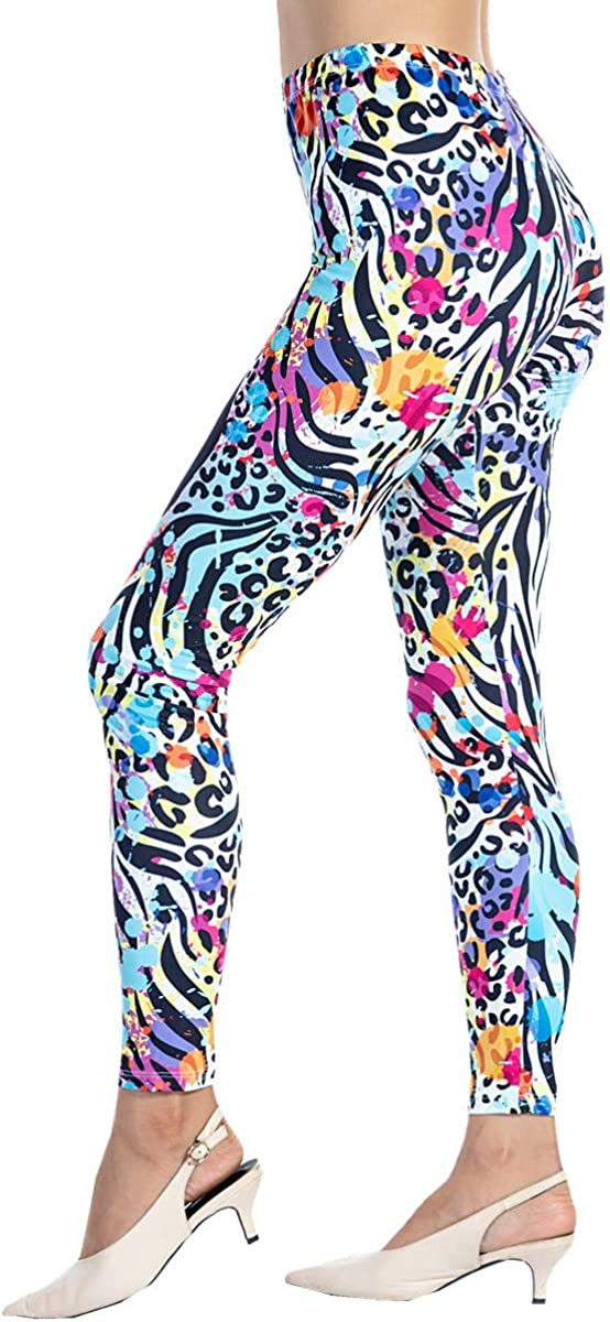 1980s Clothing, Fashion | 80s Style Clothes Ndoobiy Womens Printed Leggings Full-Length Regular Size Workout Legging Pants Soft Capri L1 $13.99 AT vintagedancer.com