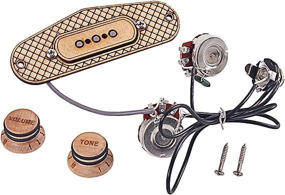 non richiede saldatura Alnicov 3 corde Cigar Box Pickup Chitarra 3 poli Humbucker Pickup con volume e tono
