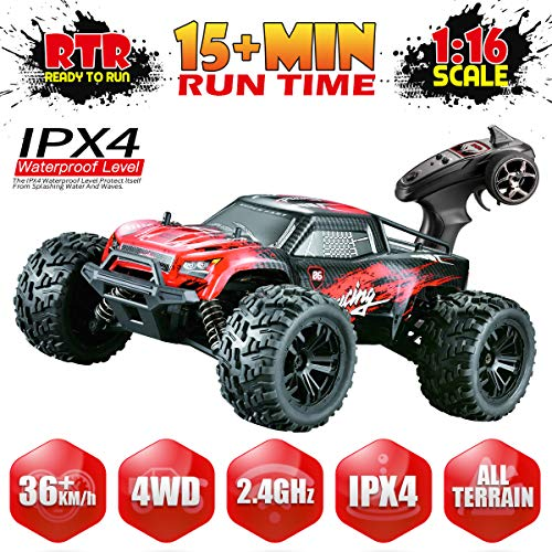 Hosim 1:16 Scale 4WD 36+ kmh High Speed RC Cars Large Size Remote Control Car Trucks 4x4 Off Road Vehicle Electric Monster Truck - All Terrain Waterproof Toys Trucks Cars for Kids and Adults(Red) from Hosim