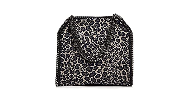 714d41cf44f1 Stella Mccartney Grey Fabric Leopard Navy Falabella Shoulder Bag Gunmetal  Hardware Handbag Bag NEW  Handbags  Amazon.com