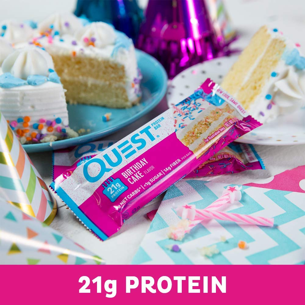 Amazon Quest Nutrition Birthday Cake Protein Bar High Low Carb Gluten Free Soy Keto Friendly 12 Count Health Personal Care