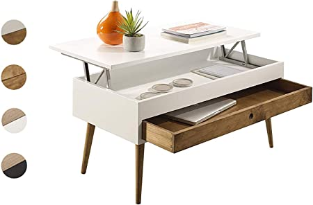 Hogar24 Es Table Basse Relevable Style Vintage Avec Tiroir
