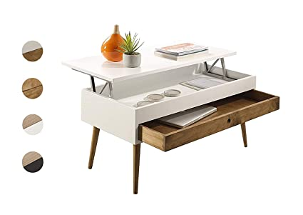 HOGAR24 ES Mesa de Centro elevable con cajón Deslizante diseño Vintage, Madera Maciza, Color Blanco y Madera Natural. 100cm x 50cm x 47cm