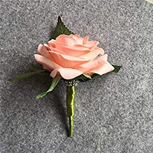 XGM GOU Artificial PU White Rose Groom Boutonniere Wedding Party Men Corsage Prom Pin Brooch Lapel Flower Decoration 6