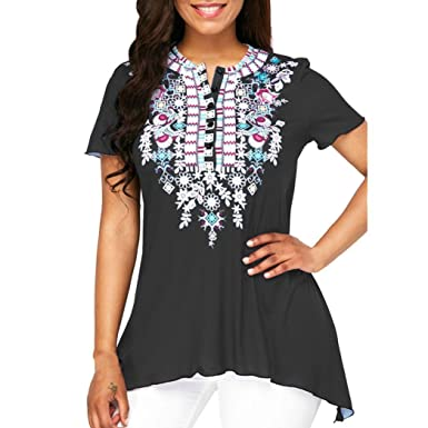 JIANGfu Fashion Women Spring Summer Autumn Plus Size Printed Button T-Shirt  Ladies Casual O 522c69e5a1cb