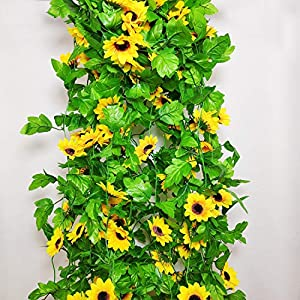 8 Pcs 8.5 Feet/piece Artificial Sunflower Hanging Vines Fake Flower Greenery Garland Silk Plant Leaves String Green Leaves Vines for Home Hotel Office Garden Wedding Party Outside Decoration 2