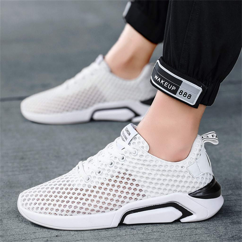 Outsta Men's Mesh Breathable Walking Running Shoes Casual Lightweight Lace up Sneaker 2019 White