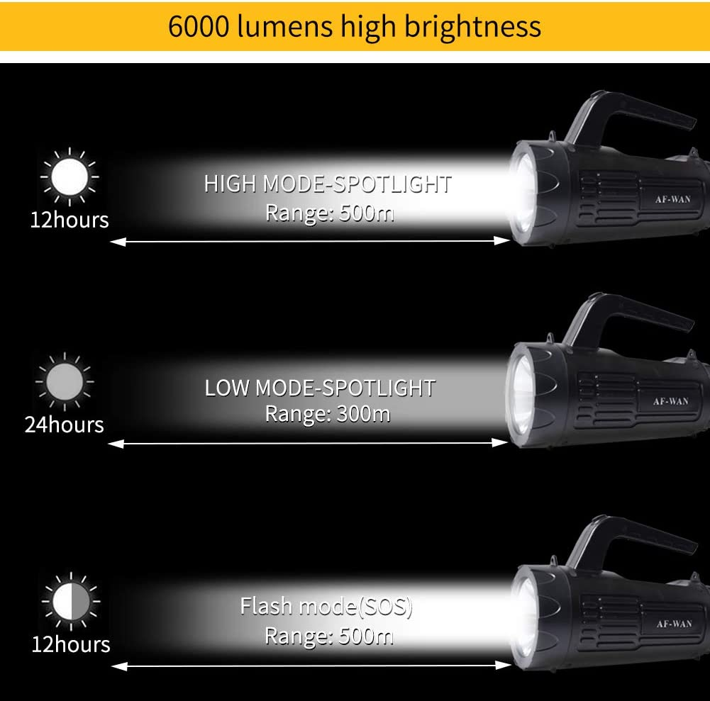 linterna LED impermeable 6000 mAh linterna de bolsillo recargable linterna linterna linterna linterna linterna linterna cable USB incluido para senderismo Ustellar Linterna LED ultra potente AF-WAN