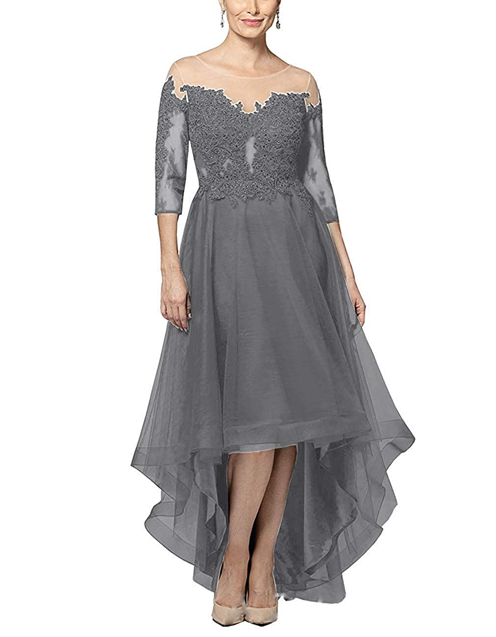 Grey XSWPL Mother of The Bride Dresses HiLow with Sleeves Lace Long Evening Formal Gowns