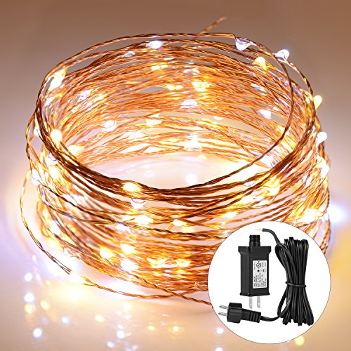 Boomile String Lights 39ft 120 LEDs, 2 Colors Interval Fairy Lights with UL Listed Power Adapter, Waterproof Decorative Lights for Seasonal Holiday, Bedroom, Garden, Festival and Party
