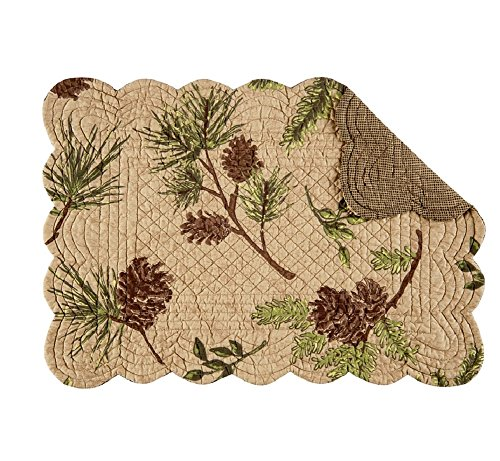 - Set of 4 WOODLAND RETREAT Rectangular Quilted Placemat by C&F Home - Pinecones, Pine - Rustic, Lodge