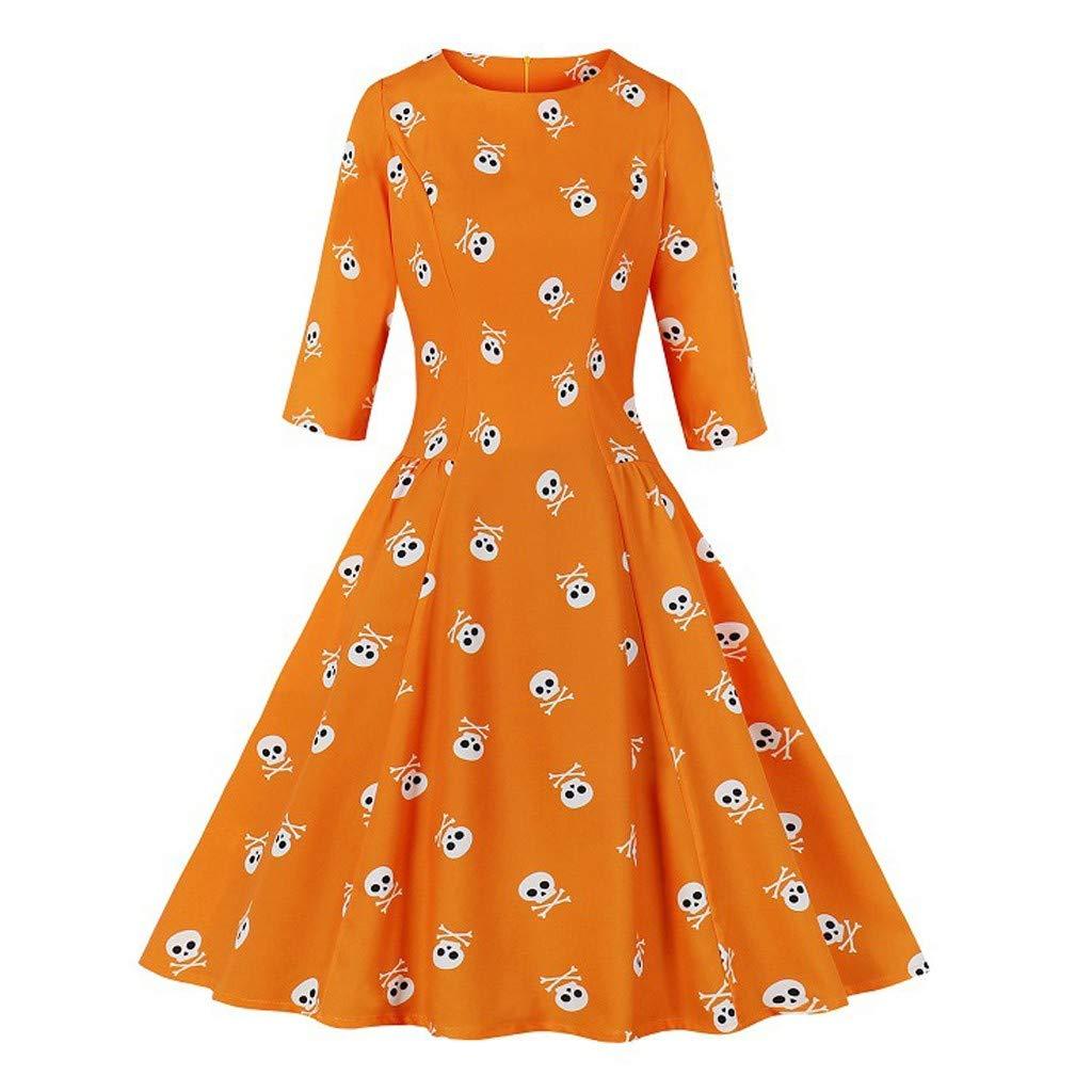 Zainafacai Women's 1950s Retro Vintage Cocktail Party Round Neck 3/4 Sleeves Midi Swing A-line Dress Orange by Zainafacai