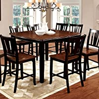 247SHOPATHOME IDF-3326BC-PT-9PC Dining-Room, 9-Piece Set, Black