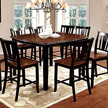 Dover Transitional Style Black and Cherry Finish 7-Piece Counter Height Dining Table Set