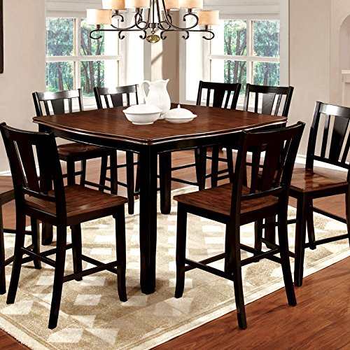 247SHOPATHOME Idf-3326BC-PT-9PC Dining-Room, 9-Piece Set, Black (Trim 9 Piece Set)