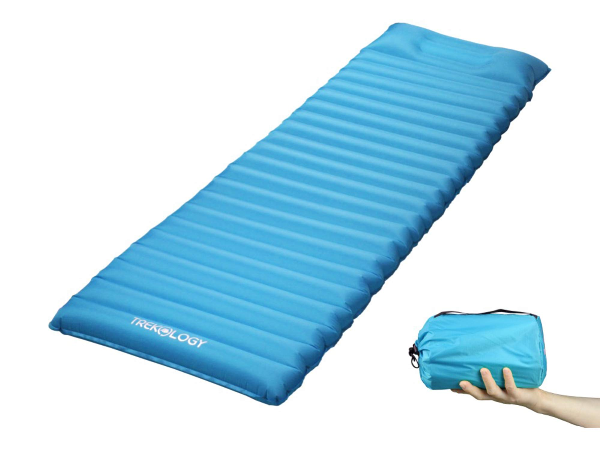 Ultralight Sleeping Pad, Inflating Camping Mattress w/Air Pump Dry Sack Bag - Compact Lightweight Camp Mat, Inflatable Backpacking Gear as Tent Pads (Teal Blue with Built-in Pillow) by Trekology
