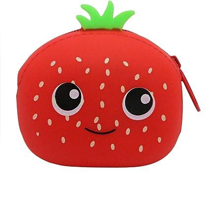 Dosige 1PCS Mujer Mini Cartera,Monedero con Cremallera, Bolso de Llave,Forma de fruta linda de Billetera,Material de Silicona size 9.5x7.5x4.5cm ...