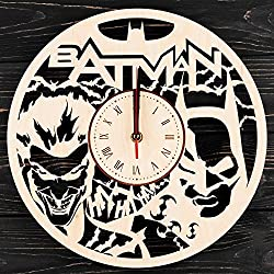 7ARTS Wooden Clock Batman – Decorative Wall Clock Made from Eco Wood with Silent Quartz Movement and Autonomous Power Source - Can be Painted, Great Gift Idea