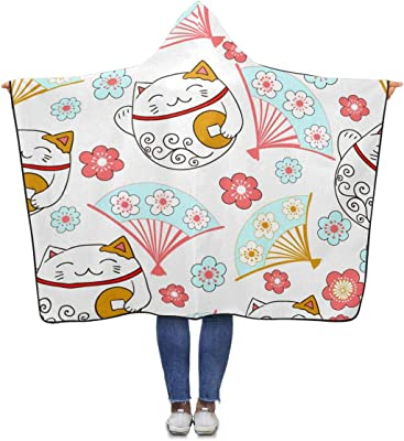 InterestPrint Cute Cats Pattern Throw Blanket 80 x 56 inches Adults Girls Boys Blankets with Hood