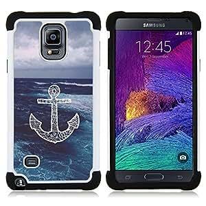 /Skull Market/ - Chevron Anchor Boat For Samsung Galaxy Note 4 SM-N910 N910 - 3in1 h????brido prueba de choques de impacto resistente goma Combo pesada cubierta de la caja protec -