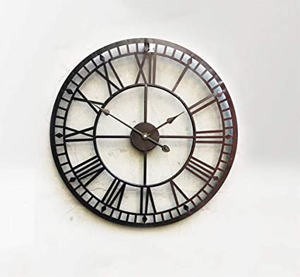 GZD Heavy Metal Industrial Style Wall Clock,Retro Simple Style Round Iron Roman Numerals Wall