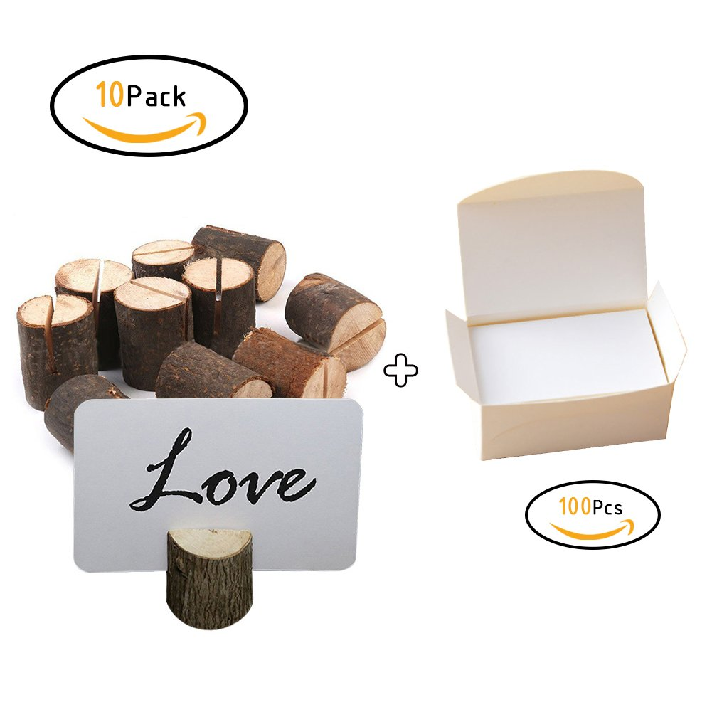 Haperlare 10pcs Wooden Table Number Holders and 100pcs Paper Card Wooden Place Card Holder Wooden Wedding Card Holder Wooden Card Holder for Home Birthday Party Rustic Wedding Decorations