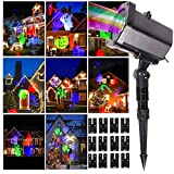 Christmas Projector Lights, Christmas Snow Lights, LED Snow Lights, Christmas Outdoor Landscape Light - Kabeier Decorative Christmas Dynamic Projector 12 Pattern Card Slide Christmas Party Light