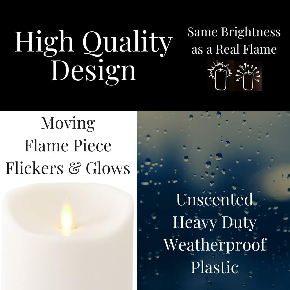 Liown Outdoor Moving Flame Candle: LED Battery Operated Waterproof Plastic Flickering Indoor Outdoor Flameless Candles with Timer (7'' Ivory) by Liown (Image #2)