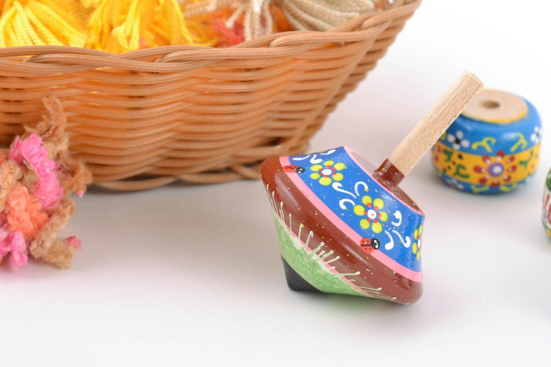 手作りDesigner木製Spinning Top Painted Eco染料使用子供のおもちゃ B010XQCUAI