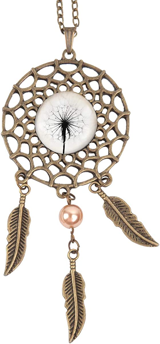 Queen Area Dream Catcher Necklace Dandelion Pendant Dangling Feather Tassel Bead Charm Chain Jewelry for Women