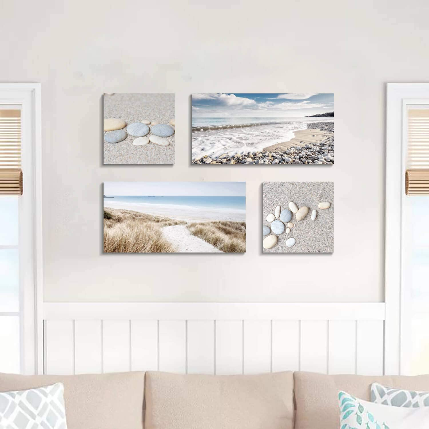 ALAGEO Canvas Print Wall Art Stone Sand Decor Oil Paintings Printed on Canvas Gallery Wrapped Canvas Art Off-White Pictures Paintings Framed Artwork for Home Decor 8x8 inches