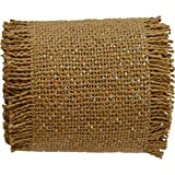 """Single fabric; Loom woven, machine stitched; Natural burlap with silver lurex, creating a shimmery finish; Trimmed with .25"""" fringe"""