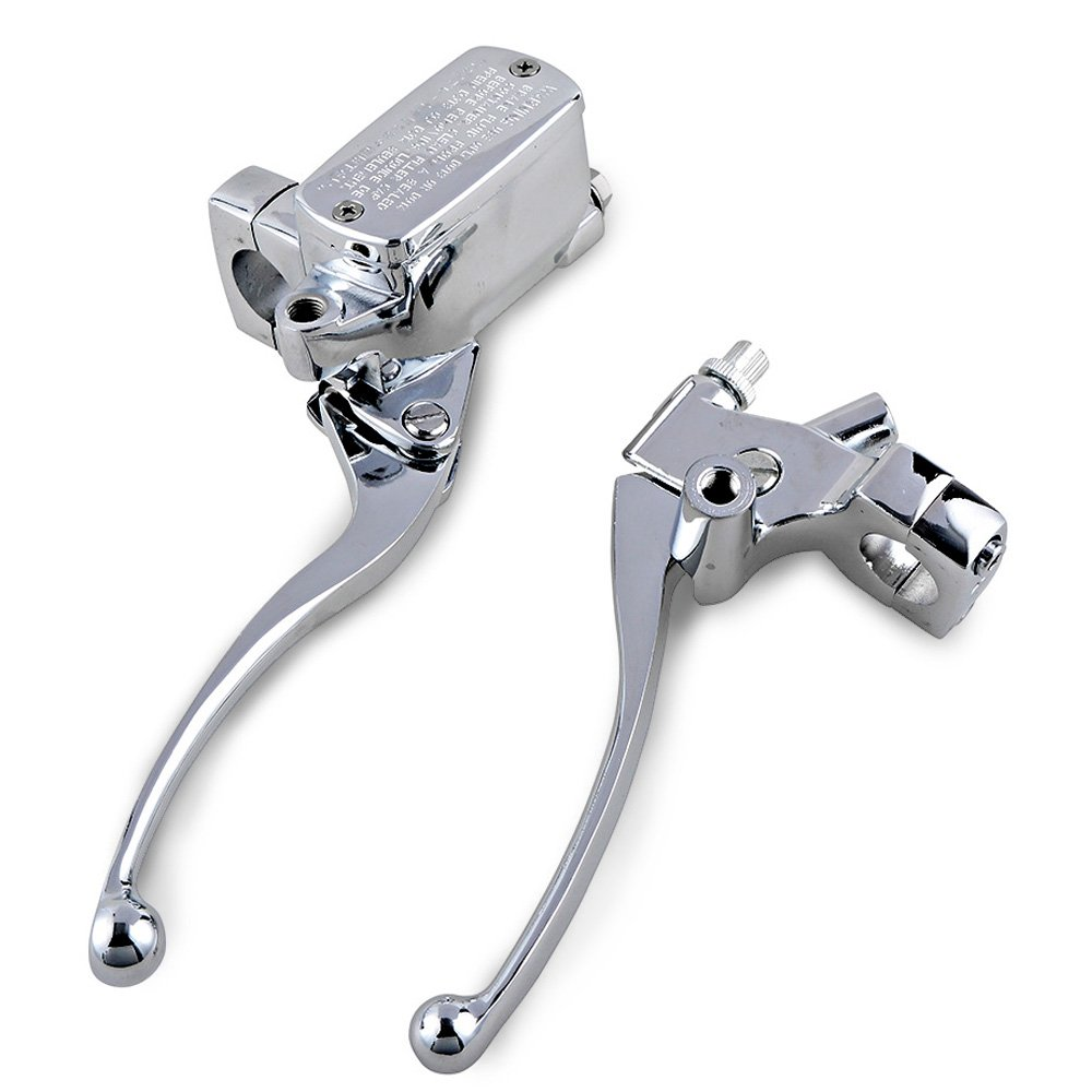 1' Handlebar 14mm Bore Hole Motorcycle Clutch & Hydraulic Brake Master Cylinder Lever (Chrome, 1 Pair) Clutch Lever & Hydraulic Brake Master Cylinder