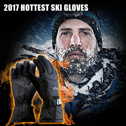 Padida Waterproof Mens Ski Gloves, Breathable Windproof Warm Skiing Snowboard Gloves, Winter Cold Weather Thinsulate Glove