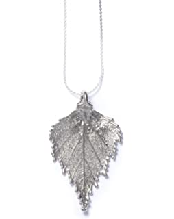 Real leaf necklace maple leaf in silver amazon jewellery real birch leaf silver pendant necklace mozeypictures Gallery