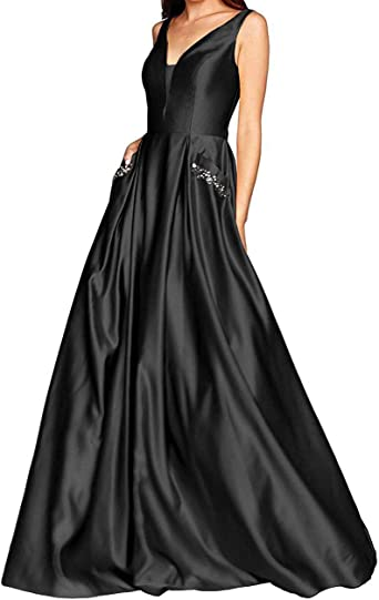 Yuki Isabelle Womens Halter Beaded Backless Long Formal Evening Wedding Dresses with Pockets