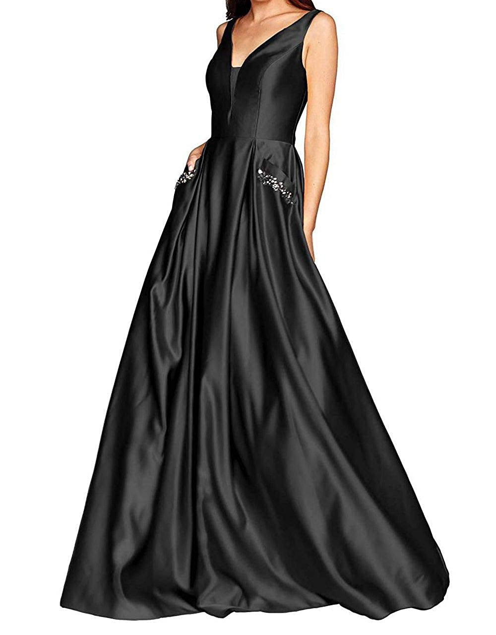 Black Yuki Isabelle Women's V Neck Prom Dresses A Line Beaded Satin Long Formal Evening Gown with Pockets