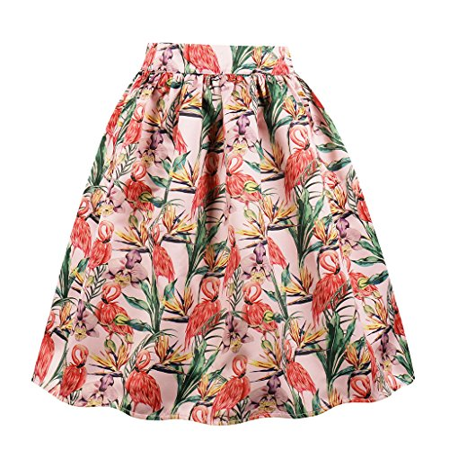Cleaivy Women's Midi Pleated A Line Floral Printed Vintage Skirts (Coral Flamingo Pocket, Small) (Coral Flamingo)