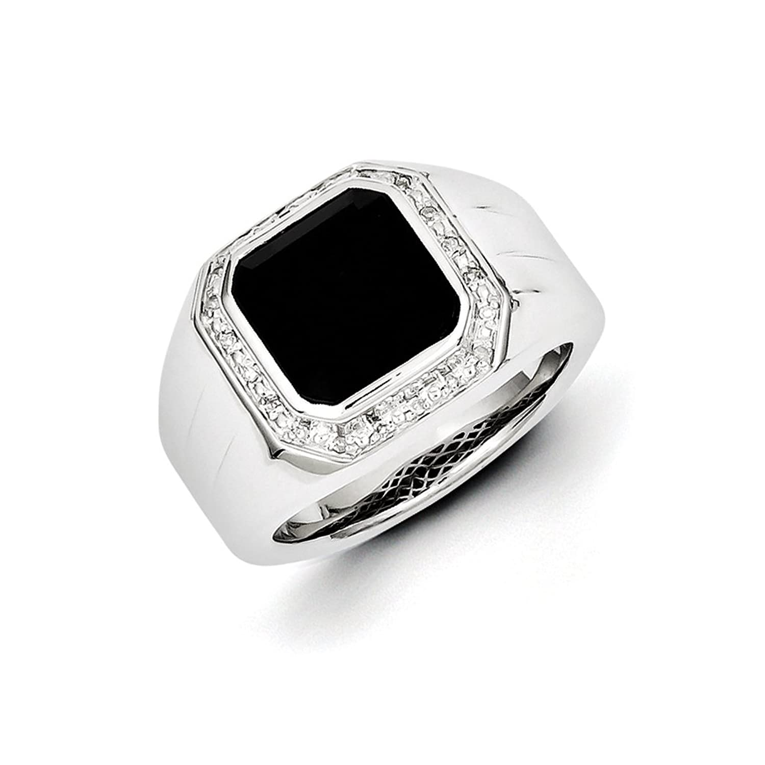.08 Ctw (I-J Color, I2-I3 Clarity) Diamond & Black Onyx Octagon 16mm Tapered Ring in Sterling Silver