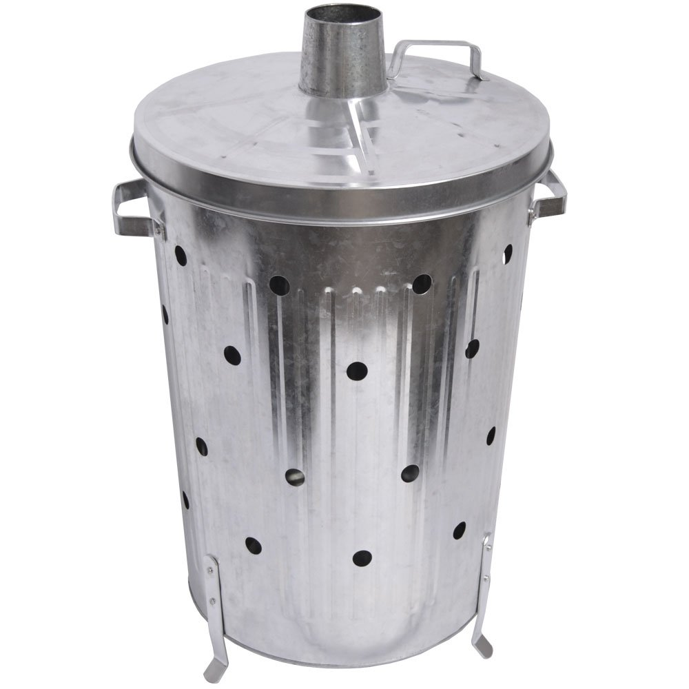 Fire Vida Galvanised Metal Incinerator Fire Bin Waste Burner Grey, 75 Litre Lassic 333388