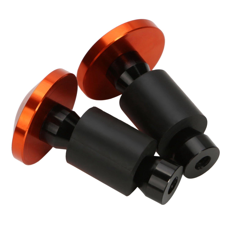 BRAUTO 2pcs CNC intagliato universale per moto bici 7//8 22mm manopole manubrio fine tappi Arancione