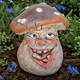 Bits and Pieces – Mushroom Man Smiley Face Polyresin Garden Statue 8 1/2 Inches Tall – Perfect Ornament For Your Garden, Porch or Patio For Sale