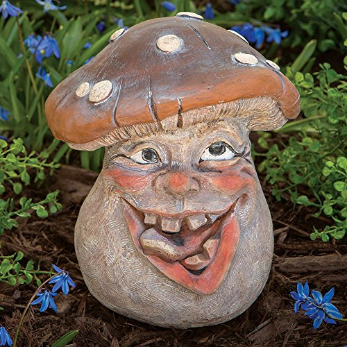 Mushroom Garden Decor - Bits and Pieces - Mushroom Man Smiley Face Polyresin Garden Statue 8 1/2 Inches Tall - Perfect Ornament For Your Garden, Porch or Patio